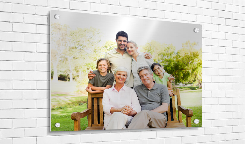 Full family with grandparents photo printed on metal
