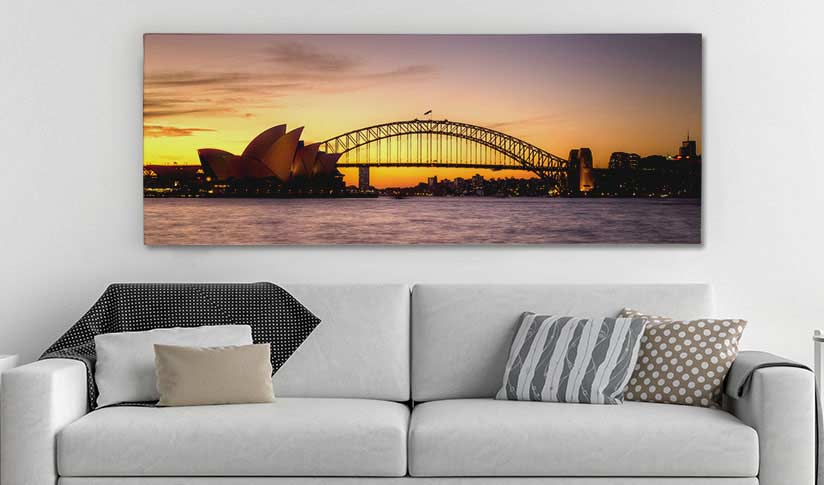Mrs Macquaries Point of Sydney photo printed on panoramic canvas