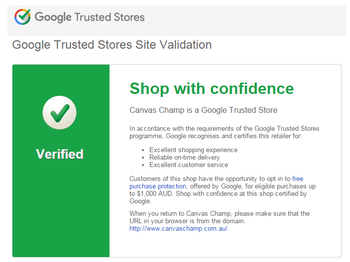 canvas champ shop with confidence Google Trusted Store