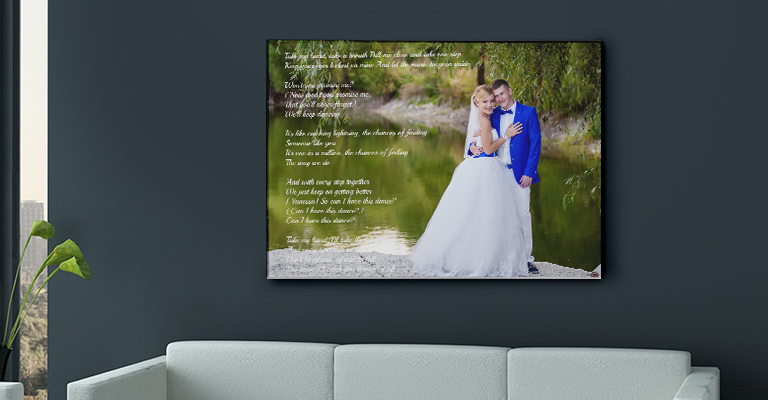 Beautiful Lyrics printed with your picture on canvas