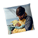 Father and son photo printed on personalised photo pillow case